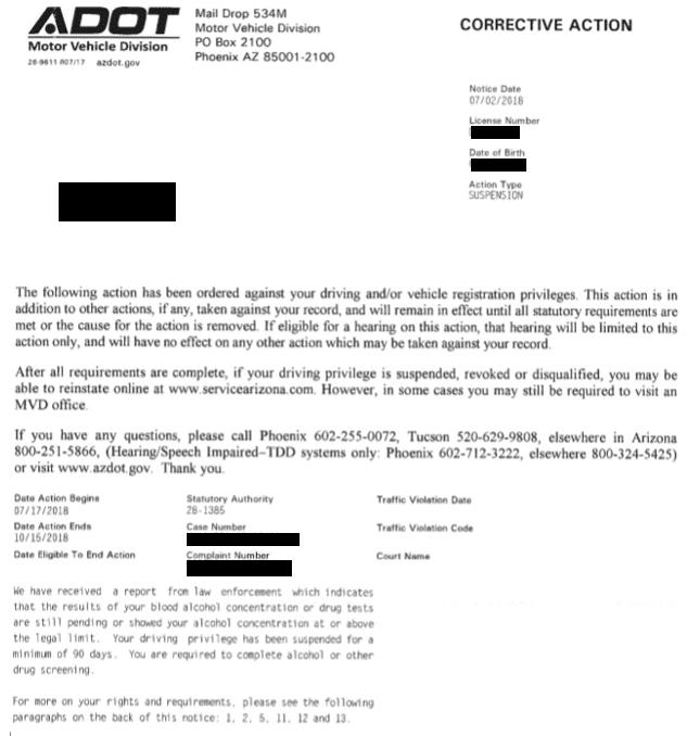 Adot Corrective Action Letter License Suspension, R&R Law Group